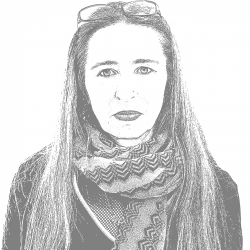 A black and white photo of Manuela