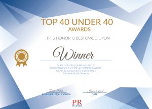 Top 40 Under 40 Certificate