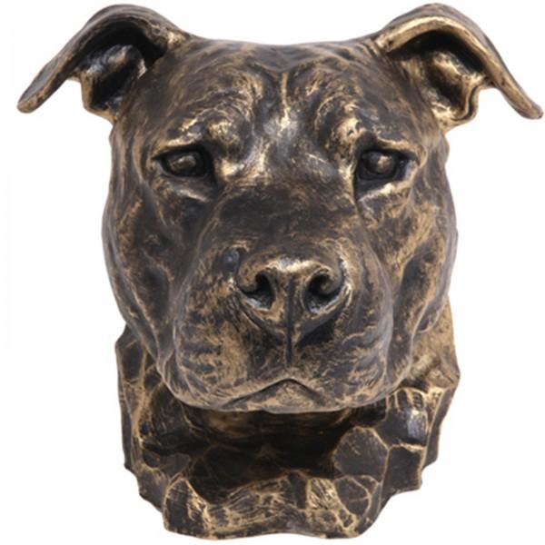 Statue tte de chien en rsine bull terrier pitbull naturel  32 cm