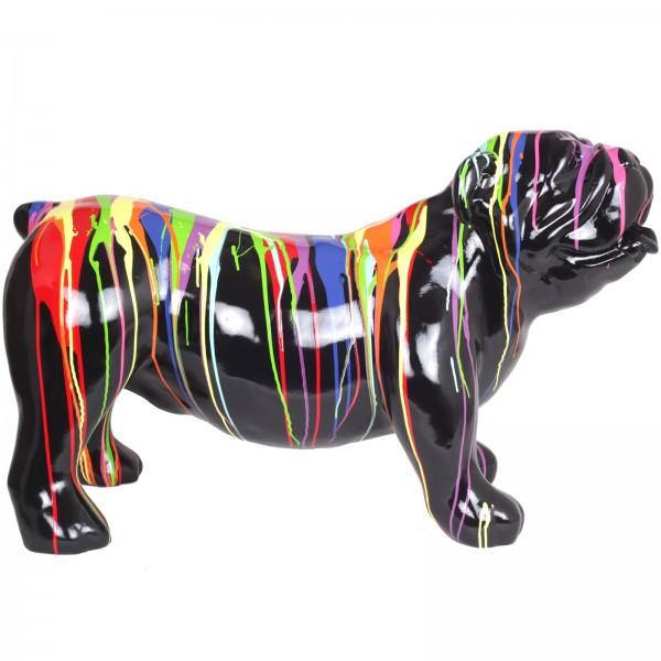 Statue rsine chien Bouledogue anglais multicolore fond noir  94 cm