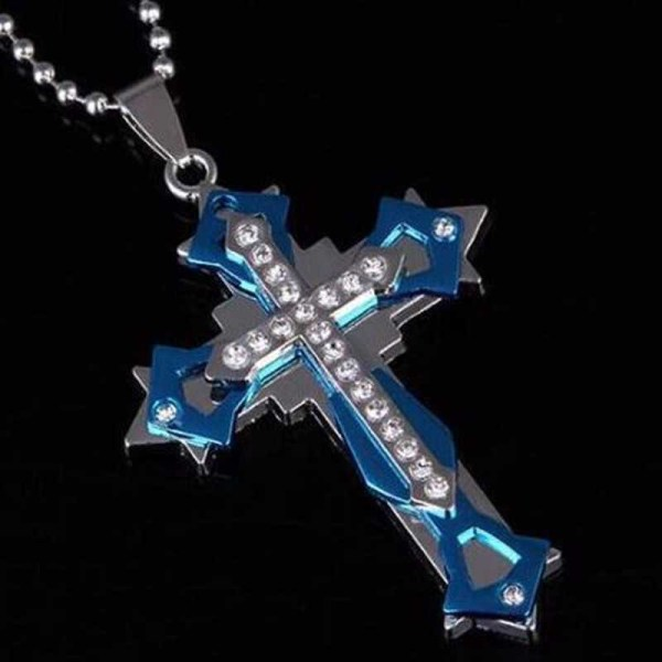 blue and silver cross necklace