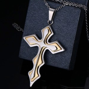 silver abd gold cross necklace