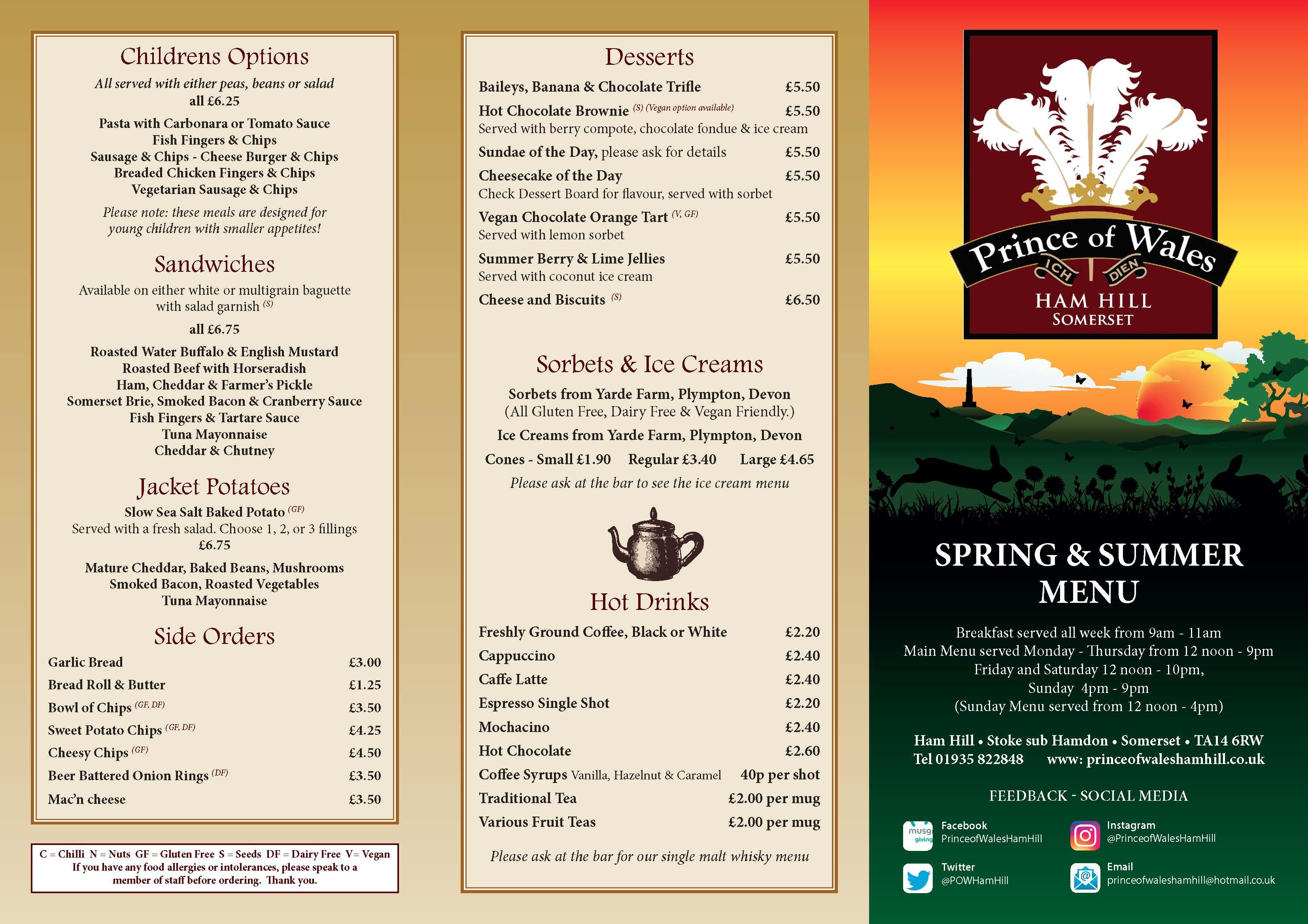 spring and summer menu