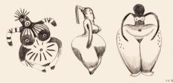 <h5>Inspiration après une visite au Musée du quai Branly</h5><p>carnet de croquis</p>