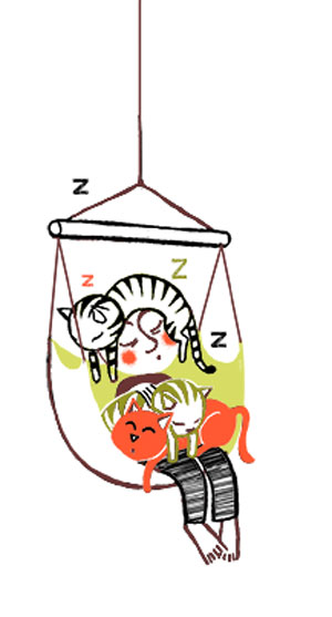 Faire la sieste avec son animal - PrincessH Illustration