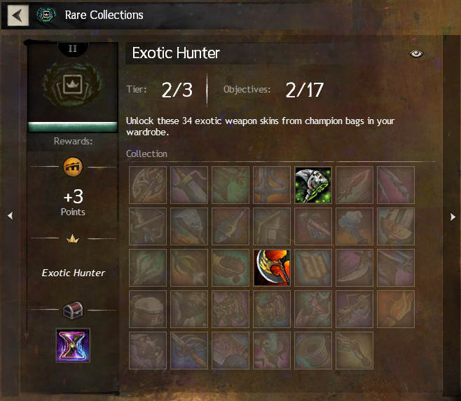 The Exotic Hunter rare collection in Guild Wars 2