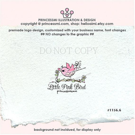 pink bird logo, party event planner logo, doodle bird logo