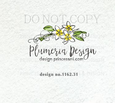 1162-31 Plumeria logo design, sketch floral logo, hand