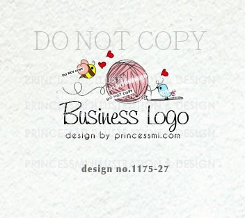 1175-27 Crochet Logo Design, YARN logo design, Bee and