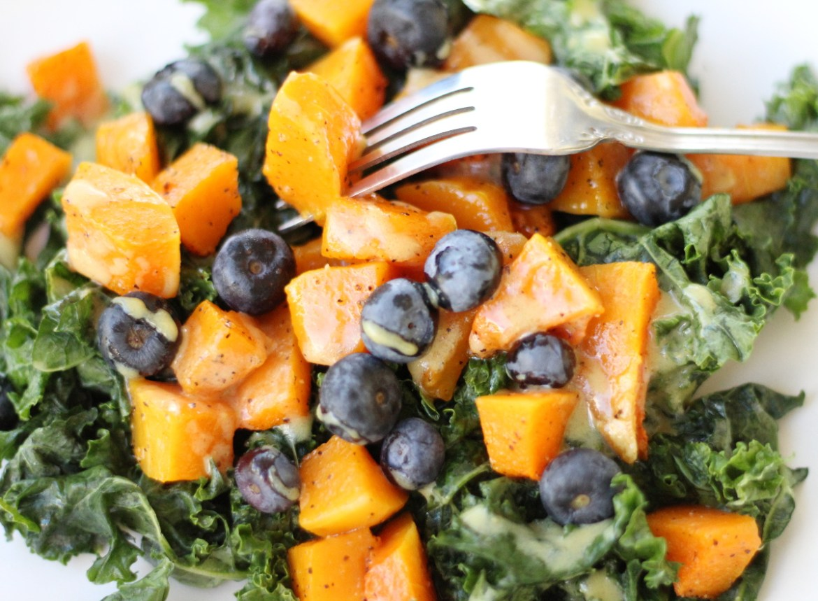 Kale, Blueberry and Butternut Squash Salad
