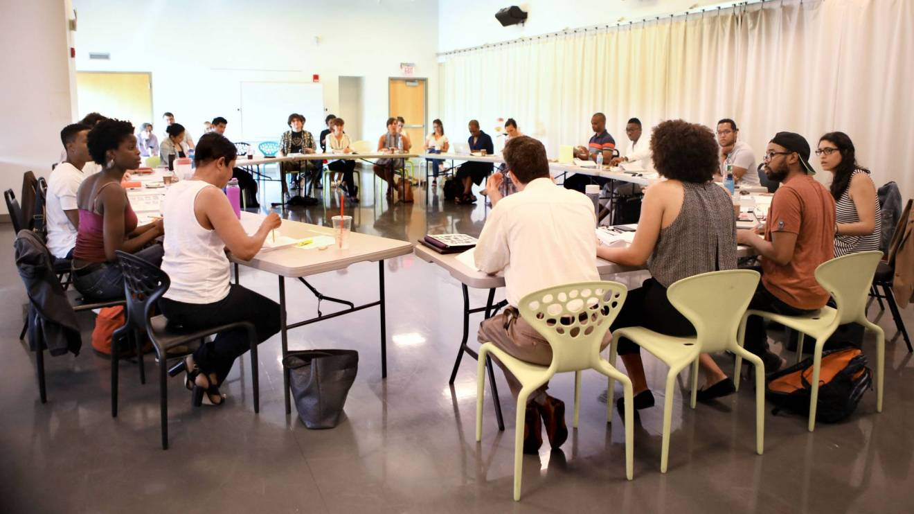 Students and playwrights participate in a reading of Princeton and Slavery Plays