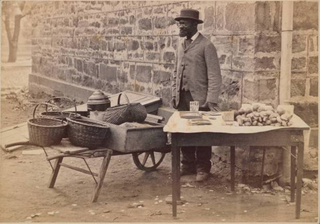 Jimmy Johnson selling fruits in front of Nassau Hall in 1881