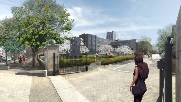 Artist's rendering of public garden near Firestone Plaza