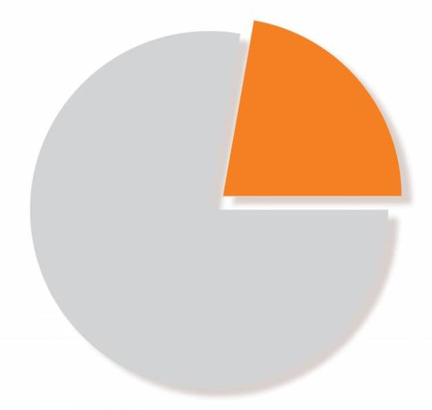Pie chart with 78% in grey and 22% in orange