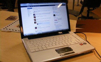 A laptop open to Facebook