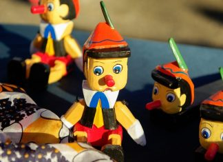 A photo of a Pinocchio doll.