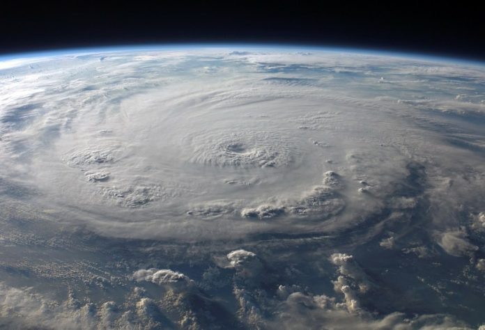Photo of a hurricane from space.