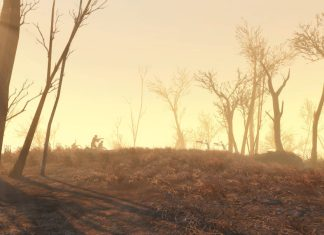 An in-game screenshot of Fallout 4, where a man points a weapon at a zombie.