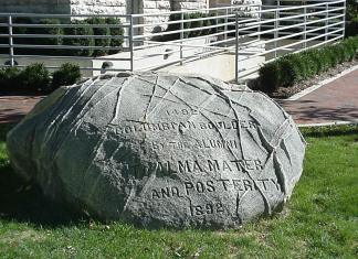 A photo of the Depauw boulder.