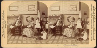 A stereograph of a woman spanking her child.