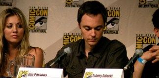 A photo of Jim Parsons, actor on The Big Bang Theory, at a Comic Con Panel.