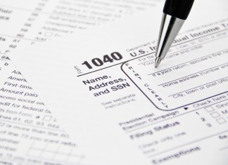 A close-up photo of U.S. Income Tax forms.