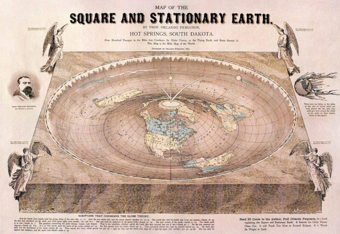 An old diagram depicting a scientist's theory about a flat earth.