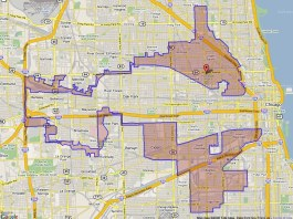 A map of a gerrymandered district in Chicago in 2004