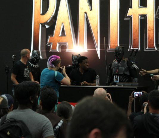 image of photographers and fans with actors of the Black Panther film