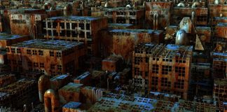 Image of many abandoned buildings