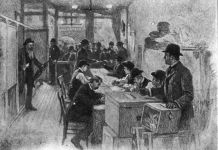 Drawing of men voting and people crowded outside a window