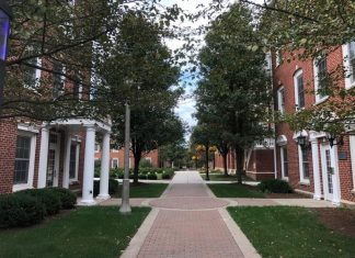 Photograph of two housing units at DePauw University
