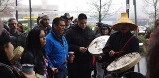 Photograph of First Nation people in Vancouver protesting