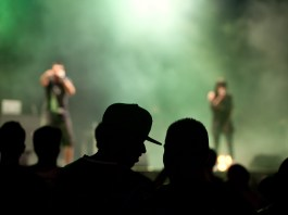 Photograph of an out-of-focus stage and the silhouettes of audience members