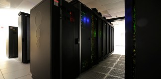 A row of black supercomputer processors