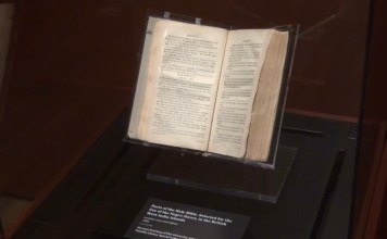 Photograph of Slave Bible showing the edited Exodus passage