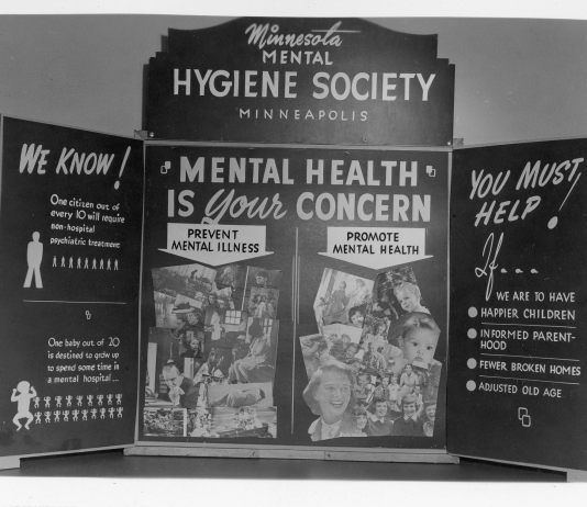 """Photograph of 1944 poster that says """"mental health is your concern"""""""