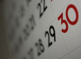 A close-up photograph of a section of dates on a calendar.