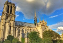 The Notre Dame cathedral in Paris photographed in 2015 from the side