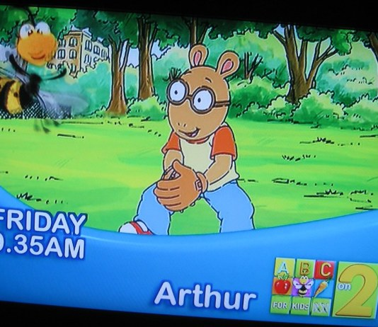 photograph of tv screen displaying an Arthur episode