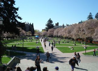 photograph of campus quad with students