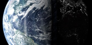 photograph of earth from space with one-half illuminated and the other half in darkness