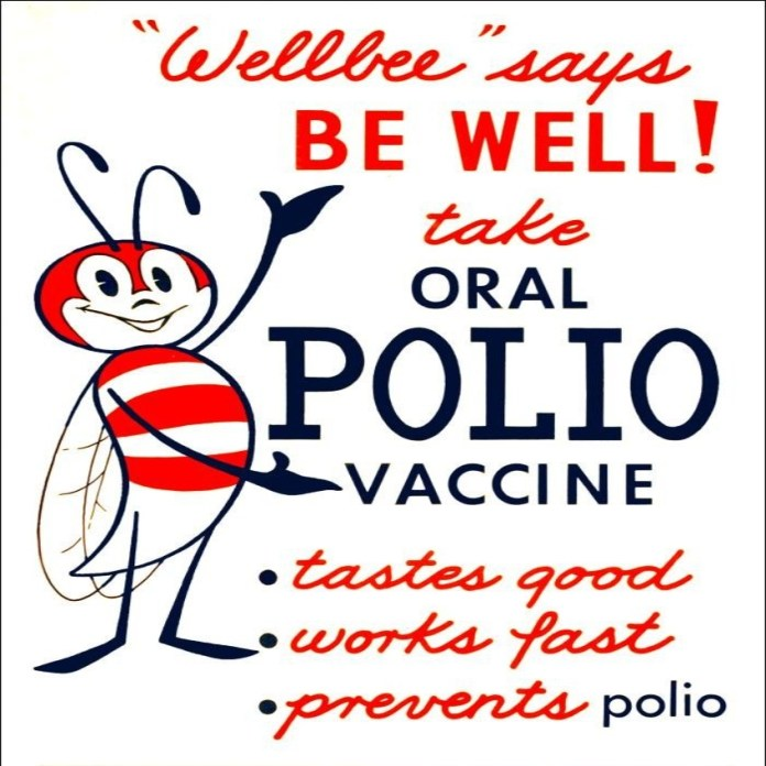 image of 1960's polio vaccine poster with Wellbee Cartoon