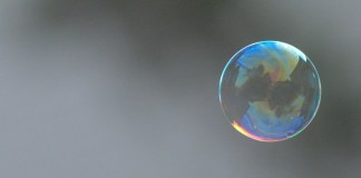 photograph of bubble floating