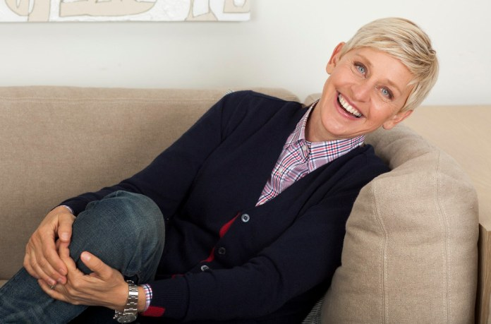 photograph of Ellen Degeneres relaxing on couch