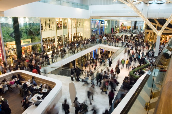 photograph of blurred crowds moving through two-story mall