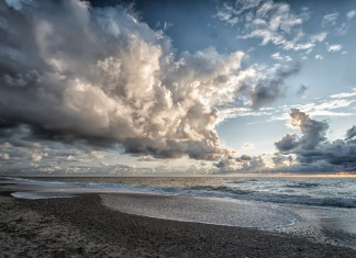 photograph of gathering clouds
