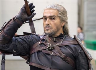 photograph of The Witcher character from a gaming expo