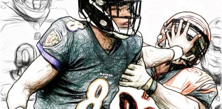 painting of lamar jackson in NFL game