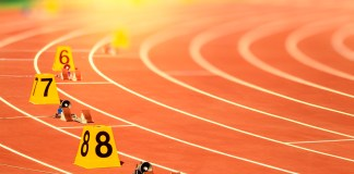 photograph of staggered starting blocks for track competition